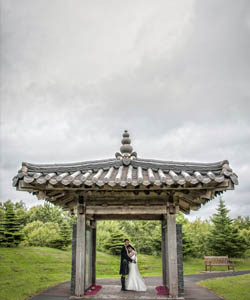 Wedding photographer takes photo of couple at Korean war memorial, Bathgate
