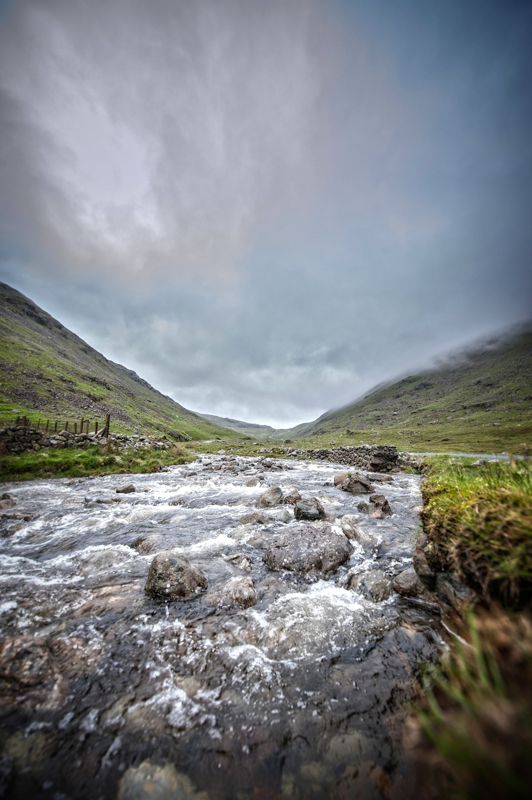 Image is of a river near the Snake Pass in Cumbria